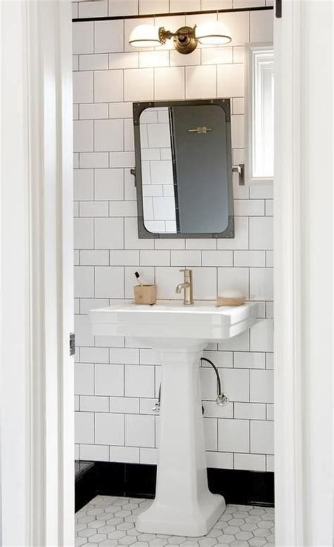black  white bathroom features  restoration hardware