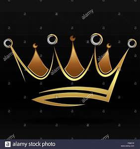 Gold abstract crown for graphic design and logo on black ...