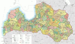 Ģeogrāfiskā karte - Latvija (Republic of Latvia) - MAP[N ...