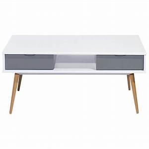 Table Basse Blanc Gris : table basse blanc gris 4 tiroirs 4 pieds ch ne vintage ~ Teatrodelosmanantiales.com Idées de Décoration