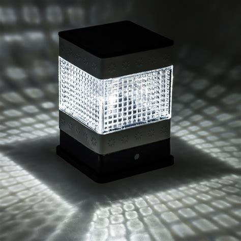 solar square patio fence post light