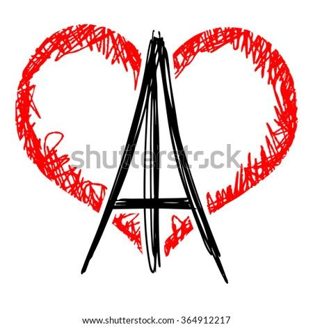eiffel tower heart shape background france stock vector