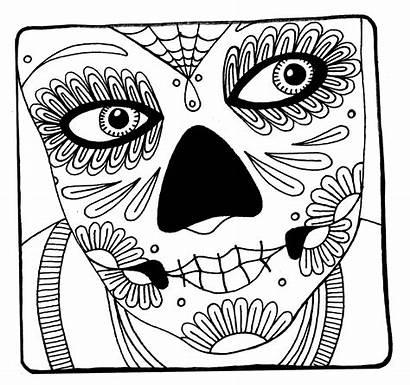 Coloring Pages Skull Woman Sugar Printable Face