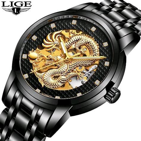 jual jam tangan pria jam tangan import motif naga mewah lige original automatic tanpa baterai