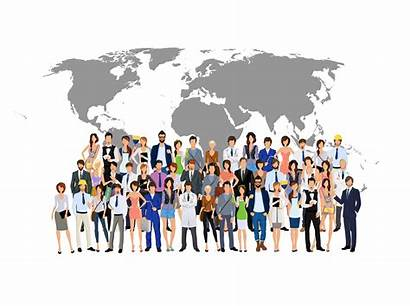 Map Vector Crowd Illustration Professionals Business Different