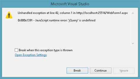 Jquery Is Undefined In Visual Studio 2013 Preview