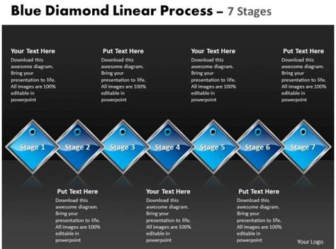 business powerpoint templates blue diamond linear process