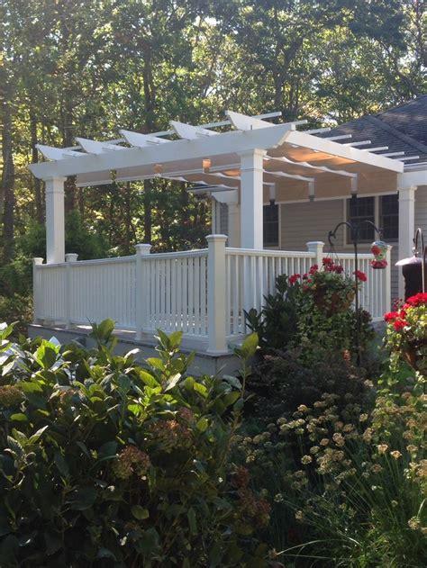 shadetree pergola white trex pergola residential pergola kit on gray composite deck with
