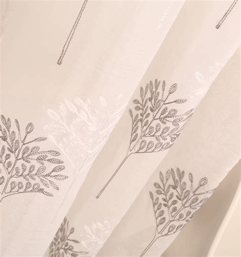 Wholesale White Tree Sheer Embroidery Voile Curtains For