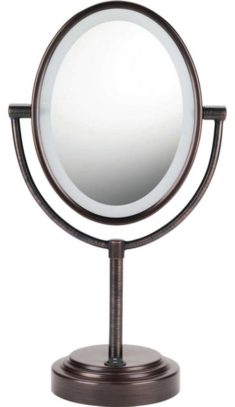 Sided Bathroom Mirror by Conair Sided Lighted Oval Mirror Bronze
