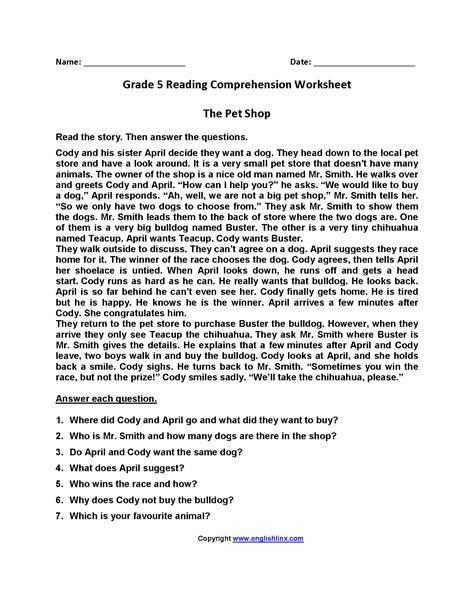 grade 5 reading comprehension worksheets free worksheet