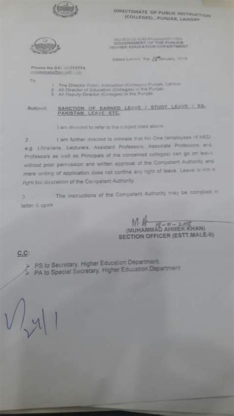 notification of sanction earned leave study leave ex