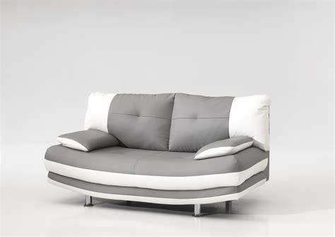 crozatier canapé convertible canapé fixe design 2 places en pu coloris gris blanc