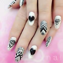 Black and white acrylic nail art : Black and white acrylic tribal design nail art