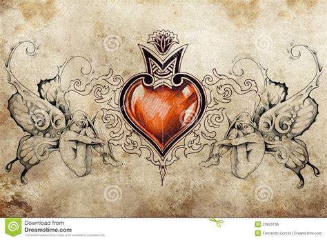 tattoo art design heart   nymphs stock illustration image