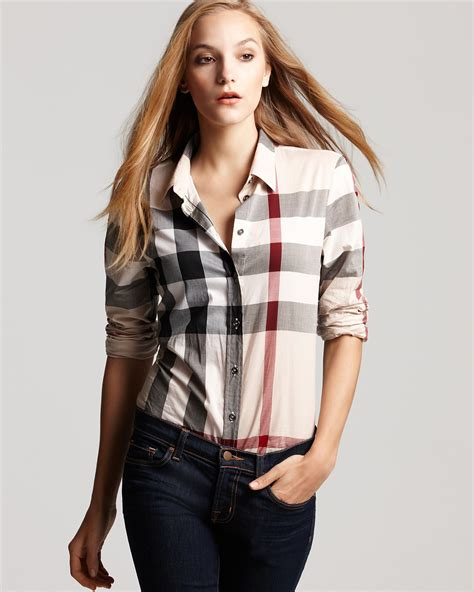 burberry blouse burberry brit exploded check button woven shirt