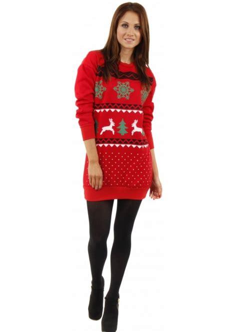 Christmas Jumper Dress | Red Festive Jumper Dress | Novelty Jumpers
