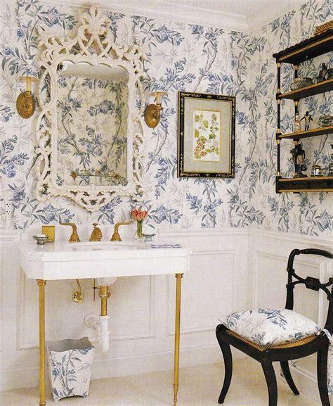 blue  white floral wallpaper  black  gold