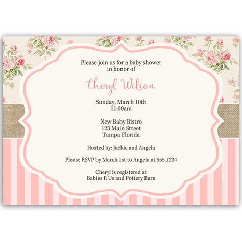 shabby chic invitation shabby chic baby shower invitation the invite lady