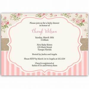 shabby chic baby shower invitation the invite lady With free printable shabby chic wedding invitations