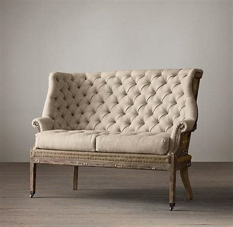 Tufted Settee Bench by Deconstructed 19th Century Wing Tufted Ivory