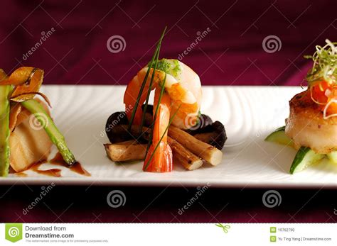creation cuisine creative cuisine appetizer shrimp seafood stock photo image 10762790
