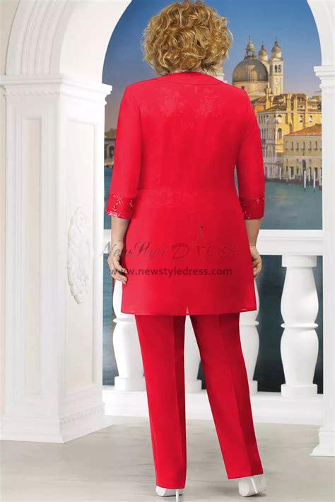 red  size mother   bride pant suit women pc
