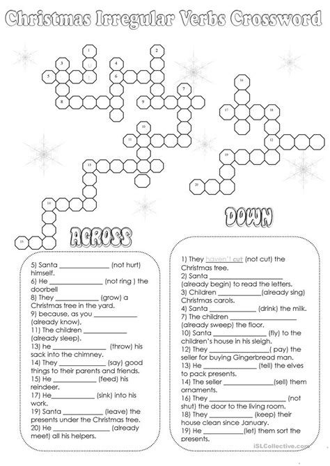 christmas irregular verbs crossword with key worksheet free esl printable worksheets made by