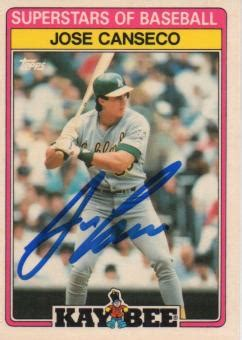 A headshot of canseco dominates the front of the card and is surrounded by those unmistakable striped borders. Jose Canseco Baseball Cards, Topps, Fleer, Upper Deck Trading Cards