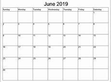June 2019 Calendar Free Printable June 2019 Calendar