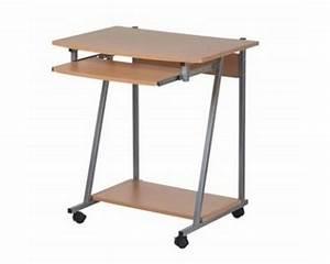 Bureau Sur Roulette : meuble bureau pc informatique sur roulette et tiroir clavier ~ Teatrodelosmanantiales.com Idées de Décoration