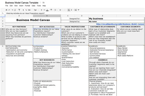 create business model canvas  ms word  google