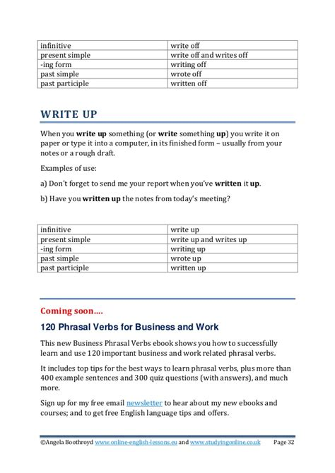 business write up forms 50 phrasal verbs for work and business