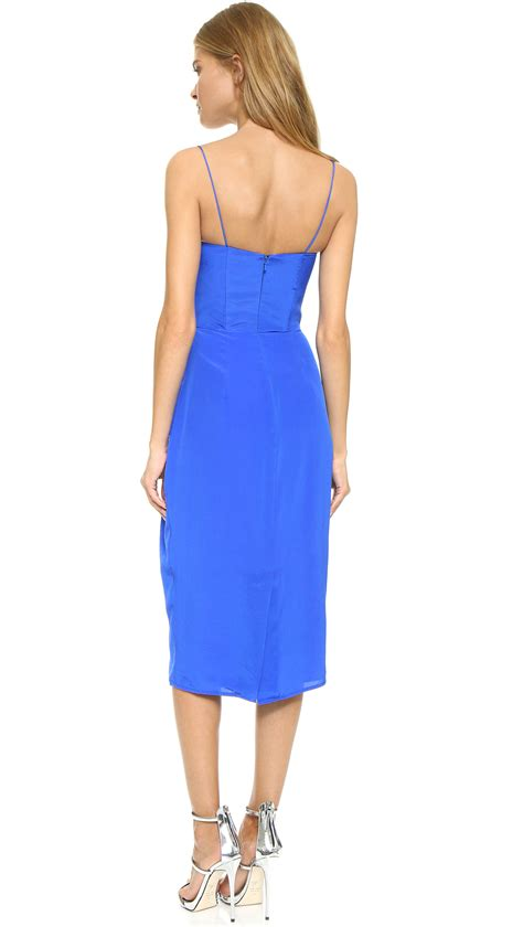 plain cutout dress lyst zimmermann silk lift dress in blue