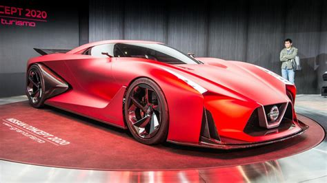 nissans gt  previewing vision gt  red  tokyo