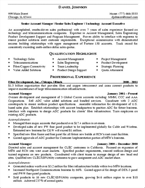 technology account executive resume it sales engineer resume exle resume exles