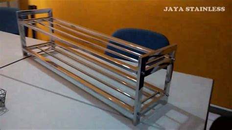 rak sudut stainless kokoh single rak sepatu model knock 2 susun stainless shoe rack
