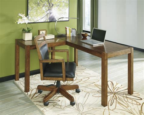 ashley furniture l shaped desk signature design by ashley lobink contemporary l desk