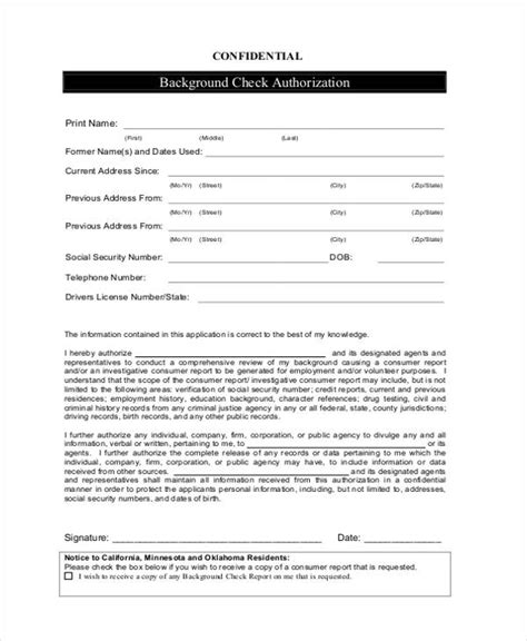 Background Check Authorization Form Template Credit And Background Check Authorization Form
