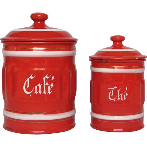 General steel wares, 50s vintage kitchen. Red Ribbed Enamel Coffee and Tea Graniteware Canisters from France | Enamelware, Coffee, Kitchen ...