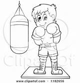 Bag Punching Boxer Clipart Cartoon Outlined Visekart Royalty Vector Messenger Template Coloring Sketch sketch template