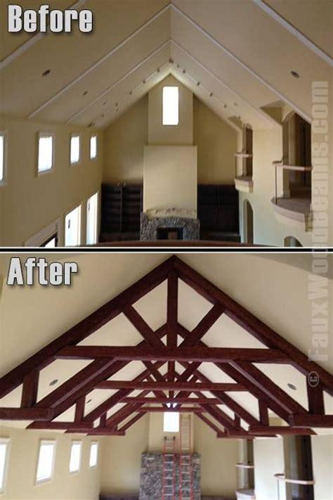 build  wood truss easily faux beams wood truss