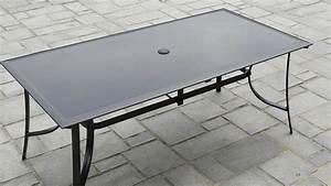 Plaque De Verre Pour Table : salon de jardin aluminium et verre 8 personnes ~ Dailycaller-alerts.com Idées de Décoration