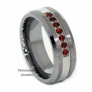 Thin Red Line Mens 7 Stone Red CZ Stones Tungsten Carbide