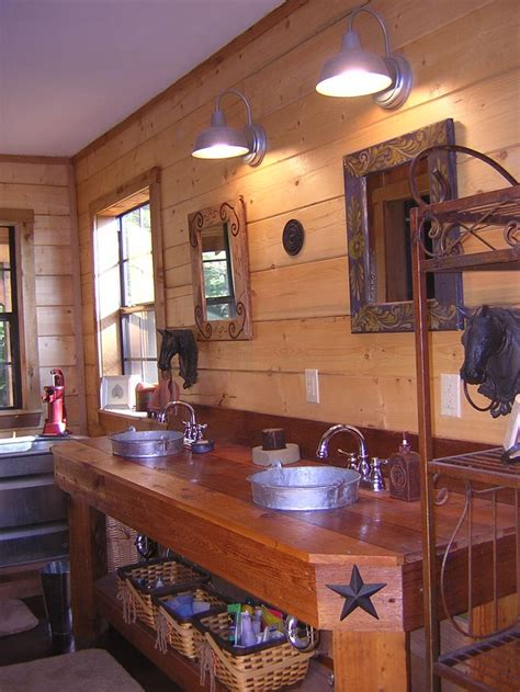 western style bathroom with galvanized buckets upcyled