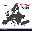 Map of europe with the state of austria Royalty Free Vector