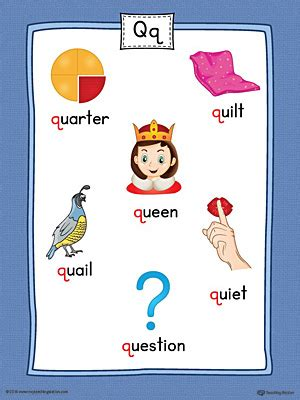 words with letter q letter q word list with illustrations printable poster 25758 | Letter Q Word List with Illustrations Poster Printable Color