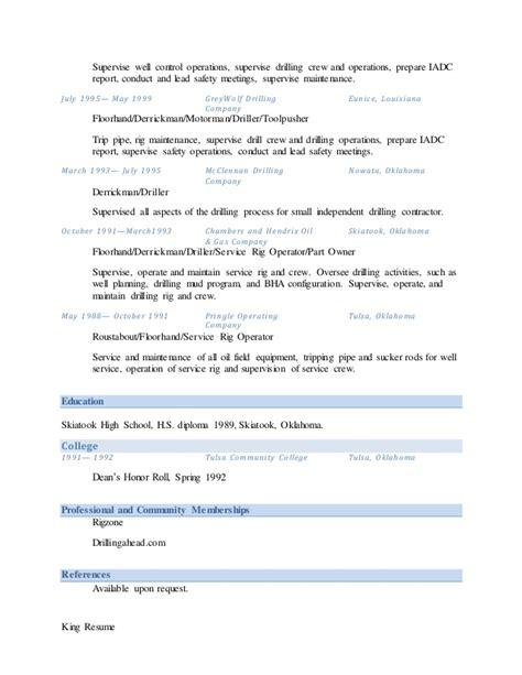 Floorhand And Motorman Resume by George Wesley King Resume