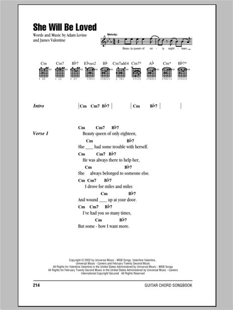 maroon 5 ukulele she will be loved she will be loved sheet music by maroon 5 lyrics chords