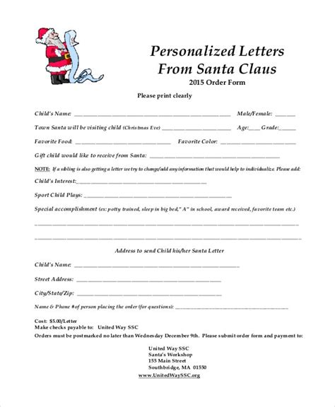 santa letter template   word  psd documents